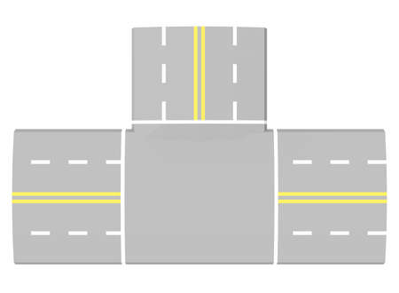 road intersection: 3d illustration of simple road intersection.