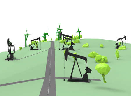 generators: 3d illustration of simple oil derricks with wind generators. Stock Photo