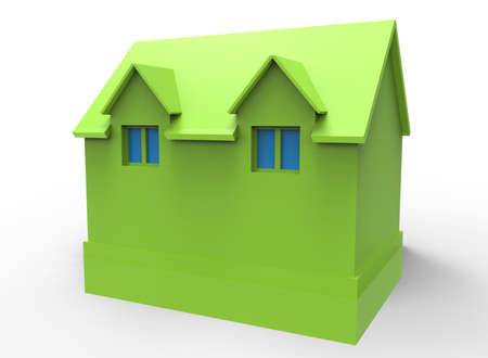 simple house: 3d illustration of simple house with window.