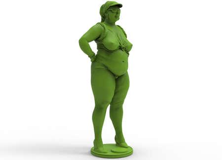 full figure: 3d illustration of fat chubby woman.