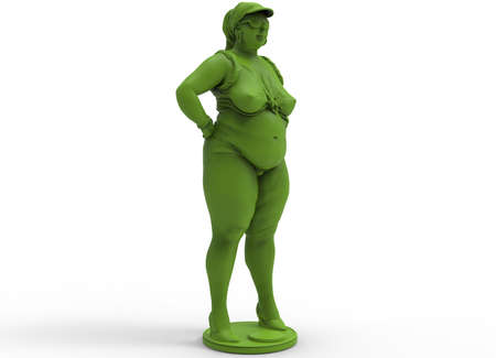 3d illustration of fat chubby woman.