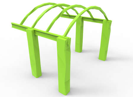 lawn furniture: 3d illustration of low poly alcove.