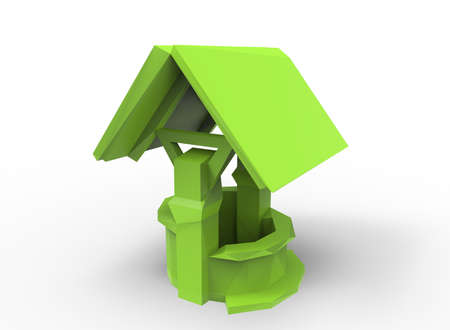 pulley: 3d illustration of low poly water well.