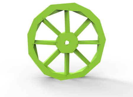 cartwheel: 3d illustration of low poly wheel.