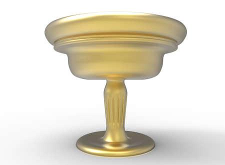 grail: 3d illustration of golden Holy grail.