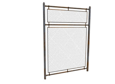 3d illustration of metal fence with rabitz.