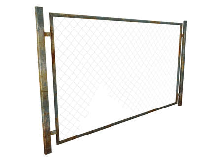 chainlink fence: 3d illustration of metal fence with rabitz.