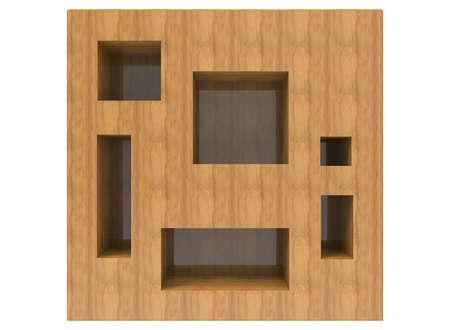 wooden shelves: 3d illustration of wooden shelves.