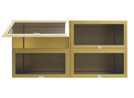 glass shelves: 3d illustration of wooden shelves with glass windows.