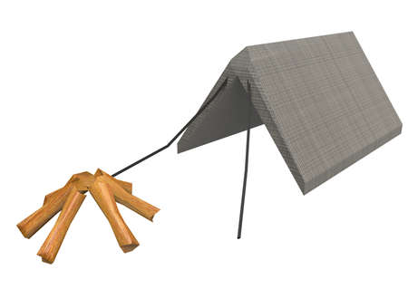 logs: 3d illustration of low poly camp tent with wood logs.
