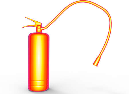 3d illustration of fire extinguisher. Stock Photo