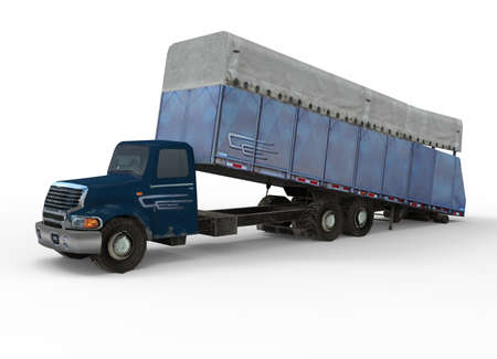 prefabricated: 3d illustration of cotton module truck.