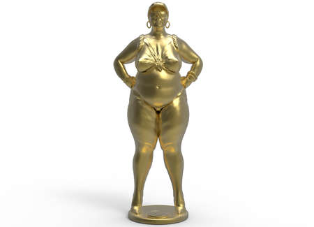 fatness: 3d illustration of fat chubby woman.
