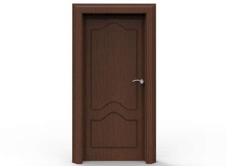 3D-afbeelding van houten deur.