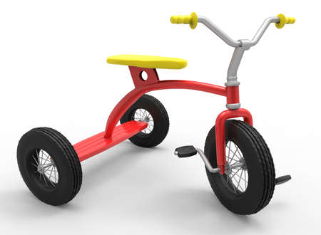 tricycle: 3d illustration of children tricycle. Stock Photo