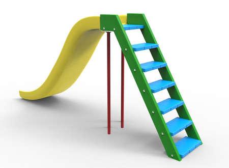 relax garden: 3d illustration of children playground slide.