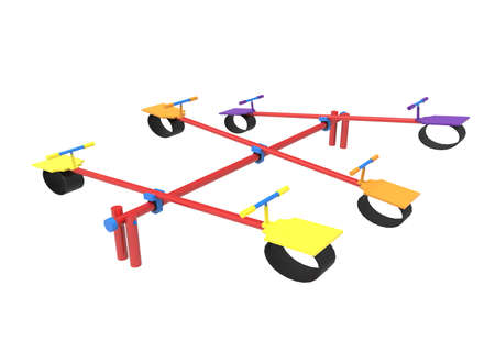 see saw: 3d illustration of children seesaw.