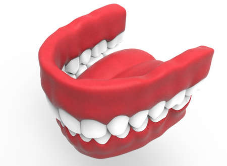 odontology: 3d illustration of closed gum with teeth and tongue. Stock Photo
