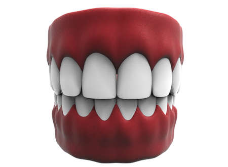 3d illustration of closed gum with teeth and tongue. Stock Photo