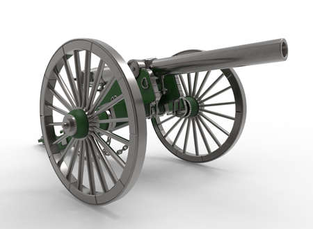 civil: 3d illustration of civil war cannon. white background isolated. murder weapon. explosive shot. field artillery Stock Photo