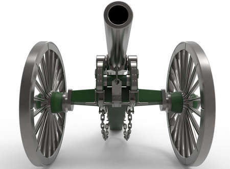 3d virginia: 3d illustration of civil war cannon. white background isolated. murder weapon. explosive shot. field artillery Stock Photo