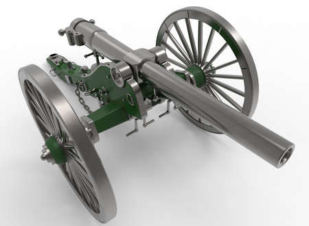murder: 3d illustration of civil war cannon. white background isolated. murder weapon. explosive shot. field artillery Stock Photo