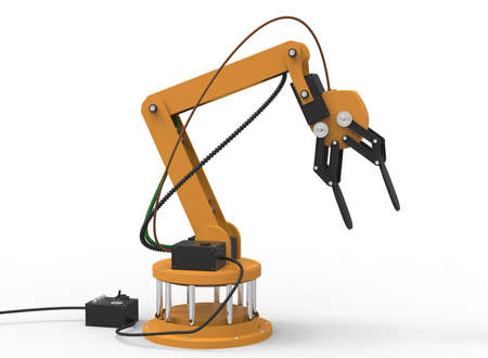 3d illustration of robotic arm. white background isolated. rube and steel. icon for game web. mechanism robot. bomb disarmament and disposal. automotive assembly lines Stock Photo