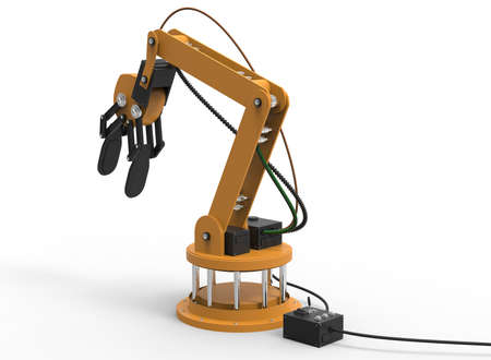 cybernetics: 3d illustration of robotic arm. white background isolated. rube and steel. icon for game web. mechanism robot. bomb disarmament and disposal. automotive assembly lines Stock Photo