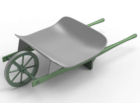 wheel barrow: 3d illustration of garden wheel barrow. white background isolated. icon for game web. with shadow. hand cart. empty without anything.