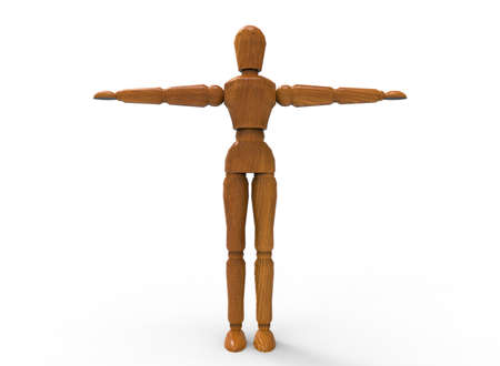 artists dummy: 3d illustration of wooden dummy man. white background isolated. icon for game web.