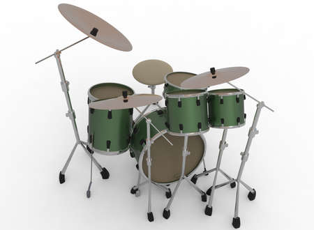bass drum: 3d illustration of drum set. white background isolated. icon for game web. kit for drummers.  percussion instruments. trap set.