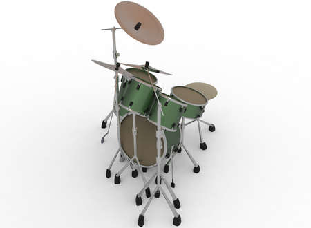 jazz drums: 3d illustration of drum set. white background isolated. icon for game web. kit for drummers.  percussion instruments. trap set.