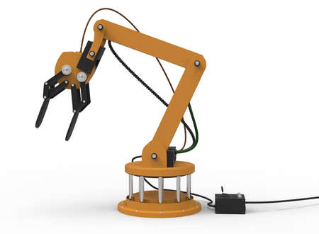 3d illustration of robotic arm. white background isolated. rube and steel. icon for game web. mechanism robot. bomb disarmament and disposal. automotive assembly lines Banco de Imagens