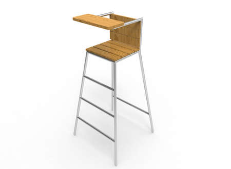 steel icon: 3d illustration of umpire chair. white background isolated. wood and steel. icon for game web. sport attribute.