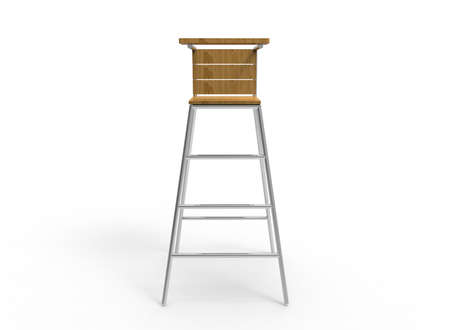 wood chair: 3d illustration of umpire chair. white background isolated. wood and steel. icon for game web. sport attribute.