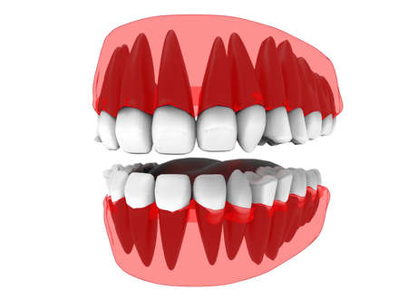 salivary: 3d illustration of closed gum with teeth and tongue. icon for game web. white background isolated. colored and cute. anatomy part of the mouth. Stock Photo