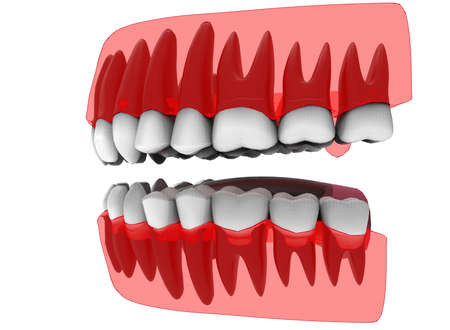 incisor: 3d illustration of closed gum with teeth and tongue. icon for game web. white background isolated. colored and cute. anatomy part of the mouth. Stock Photo