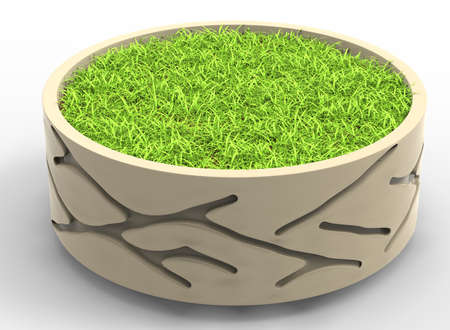 flowerbed: 3d illustration of flowerbed with grass. white background isolated. icon for game web. green juicy color. with shadow.
