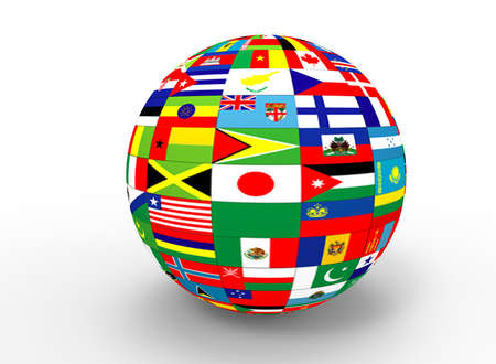 all european flags: 3d illustration of earth globe with flags. white background isolated. icon for game web.