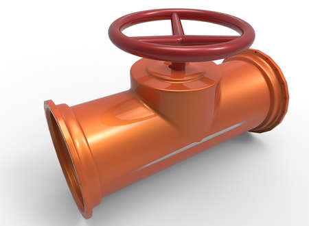 stopcock: 3d illustration of pipe with red valve. white background isolated. icon for game web. Stock Photo