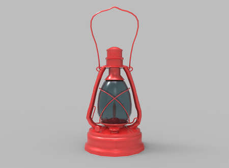 electricity post: 3d illustration of old vintage lamp. grey background isolated. icon for game web.
