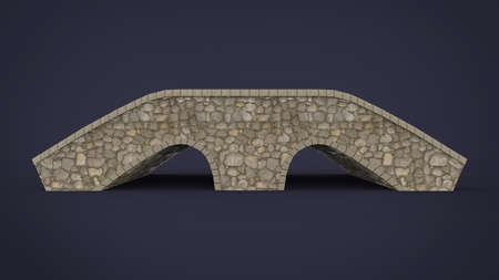 pont: 3d illustration of rock bridge. blue background isolated. icon for game web.