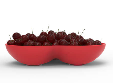 3d illustration of bowl with cherries. white background isolated. icon for game web. with shadow. empty without anything. juicy fruits. summer vitamins. healthy food.