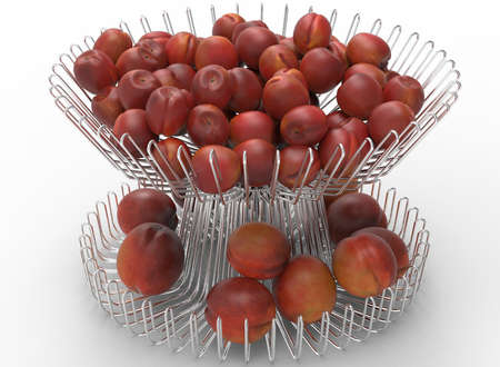 3d illustration of metal dish with nectarines and peaches. white background isolated. icon for game web. with shadow. empty without anything. juicy fruits. summer vitamins. Stock Photo
