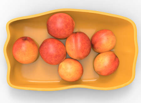 empty bowl: 3d illustration of bowl with nectarines and peaches. white background isolated. icon for game web. with shadow. empty without anything. juicy fruits. summer vitamins. healthy food.