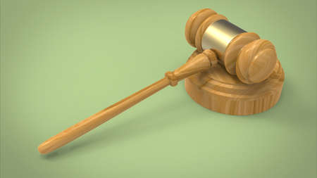 3d illustration of court hummer. green background isolated. icon for game web. justice and law concept