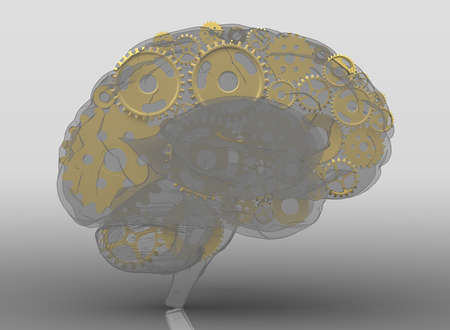 thinking machines: Human brain build out of cogs and gears. 3d illustration with shadow.
