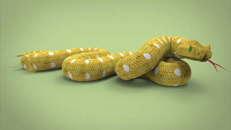poisoned: 3d illustration of yellow snake. green background isolated. icon for game web. poisoned animal.