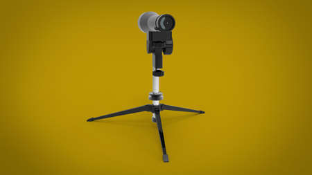 3d illustration of US Military M24 Sniper Spotter Scope. yellow background isolated. icon for game web. tool for army and soldiers. Stock Photo