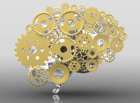 Human brain build out of cogs and gears. 3d illustration with shadow.